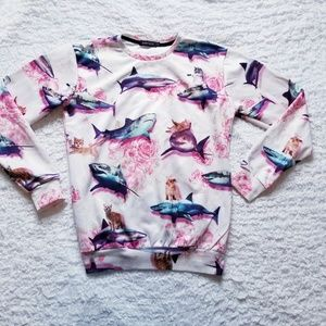 Other - KITTENS RIDING SHARKS Roses Crewneck Size Large